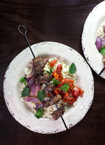 Pork Kebabs on cauliflower rice