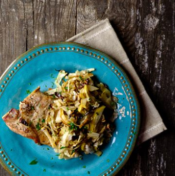 Oven Baked Pork Chops with Apples and Cabbage