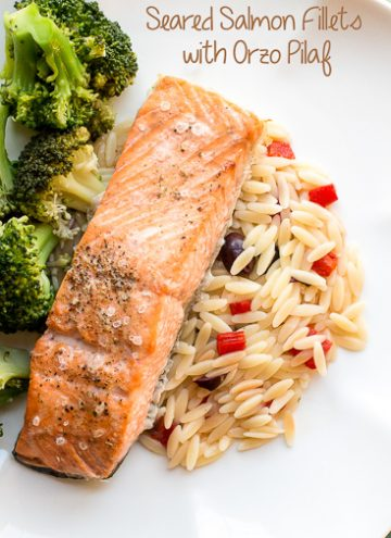 Seared Salmon with Orzo Pilaf