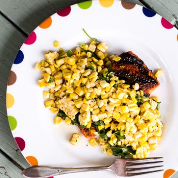Grilled Salmon with Toasted Corn Vinaigrette