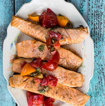 Salmon with tomato vinaigrette.