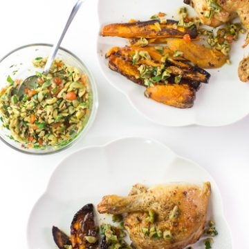 roast chicken with sweet potatoes and olive tapenade