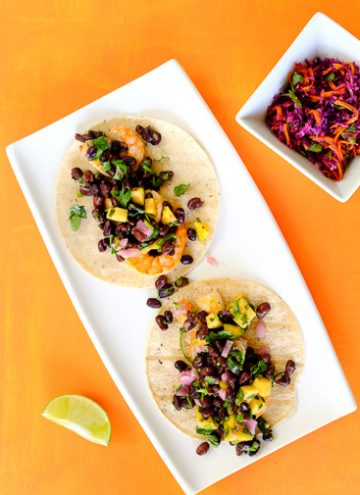 Easy shrimp tacos with black bean mango salsa