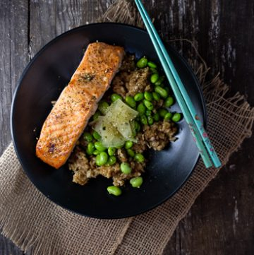Salmon Bowl with Brown rice and edamame