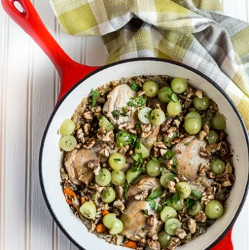 Braised Chicken Thighs with Wild Rice and Grapes
