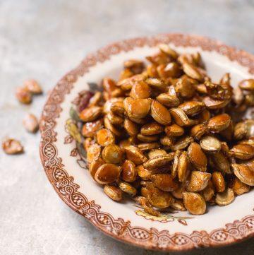 Bowl of pumpkin seeds.