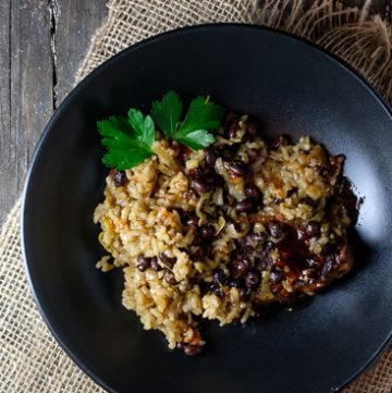 Instant Pot Pork Tenderloin with Black Beans and Coconut Rice