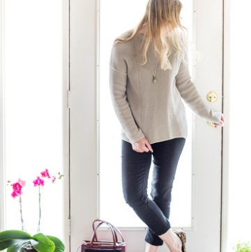 Capsule Wardrobe Neutral Sweater styled slightly dressy