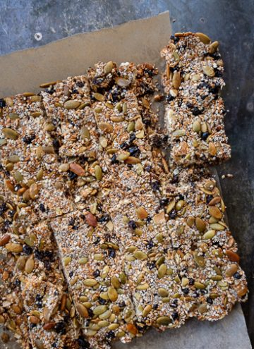 Overhead photo of seeded snack bars.