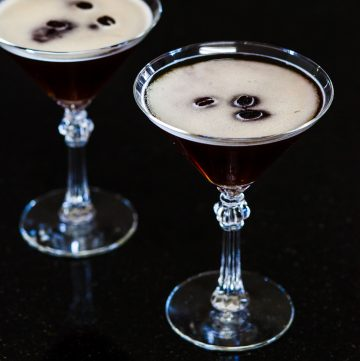 Two glasses of espresso martini.