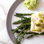 Roasted Cod with Asparagus and Jalapeno Dressing