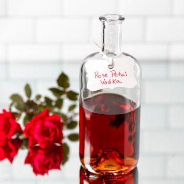 Bottle of rose petal vodka.