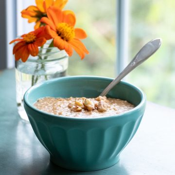 Blue bowl with oatmeal in it.