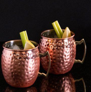 Two copper mugs.