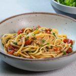 Bowl of lobster pasta.