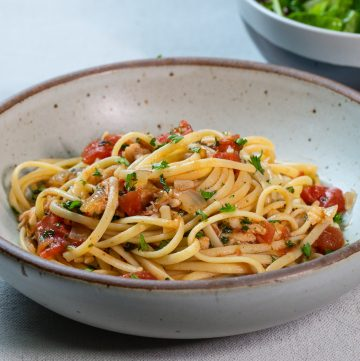 Bowl of lobster pasta.