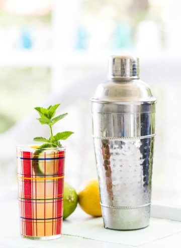 Mojito in a plaid glass with a cocktail shaker.