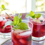 Glasses filled with blackberry cocktail