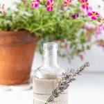 Bottle of lavender simple syrup