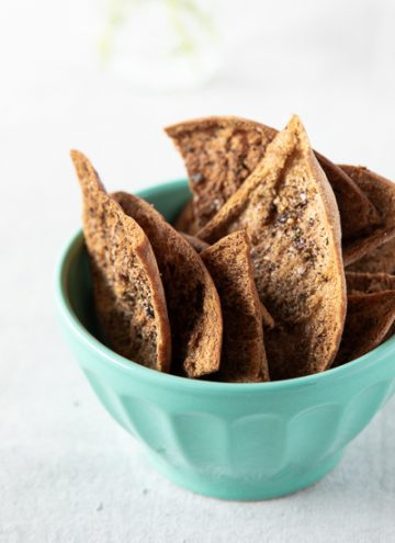Bowl of homemade pita chips