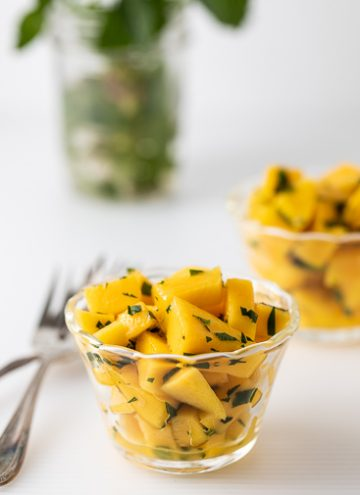Small bowl with mango salad