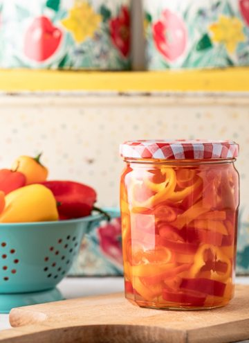 Jar of quick pickled peppers