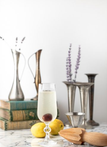 French 76 cocktail in a glass.