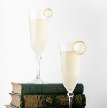 Two glasses of French 77 cocktail.
