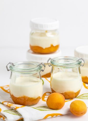 Apricot Compote in jars with yogurt.