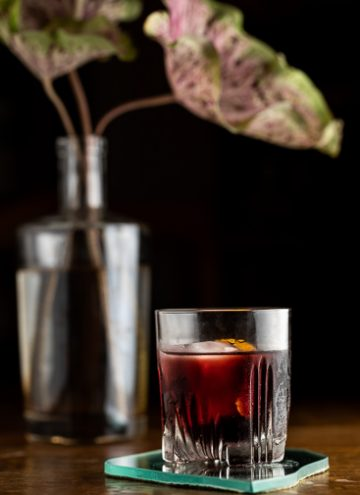 Old fashioned cocktail in a glass in front of a plant.