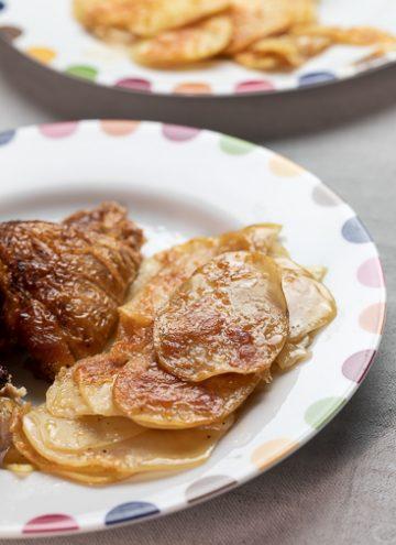 Close up of potatoes au gratin.
