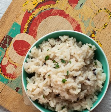 Bowl of parmesan rice.