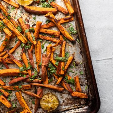 Tray of sweet potato fries.
