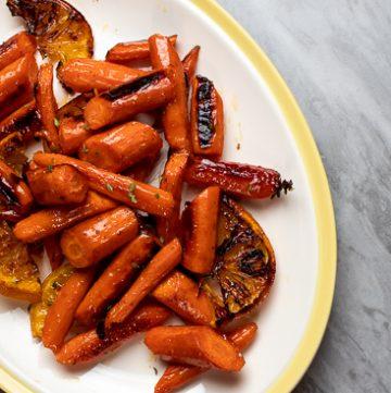 Platter of honey orange carrots.
