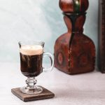 Irish coffee glass filled with Irish coffee.