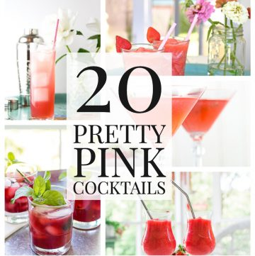 Photo collage with 20 pretty pink cocktails text.