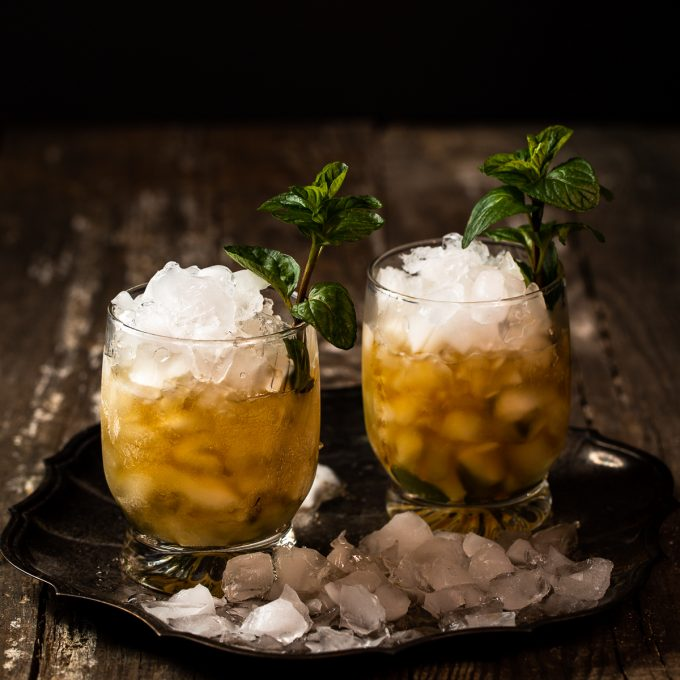Two mint julep cocktails.