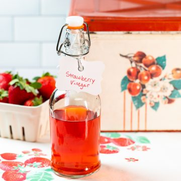 Bottle of strawberry vinegar.