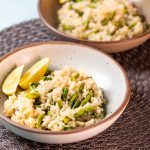 Bowl of asparagus risotto.