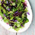 Platter of an herb salad.