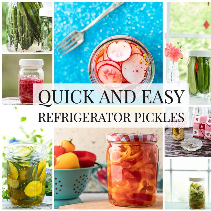 Photo collage of quick pickles with text overlay.