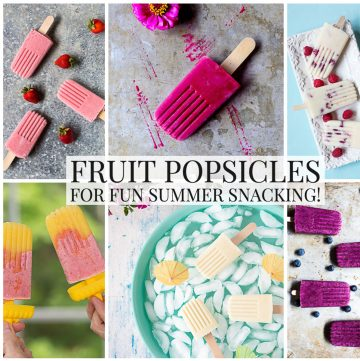 Photo collage of fruit popsicles.