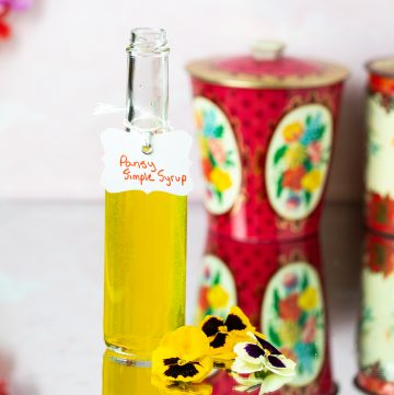 Bottle of pansy simple syrup.
