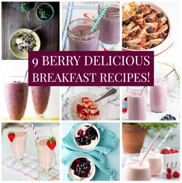 Photo collage of berry breakfasts.