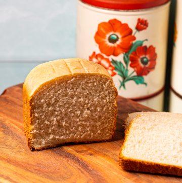 Sliced bread on a cutting board.