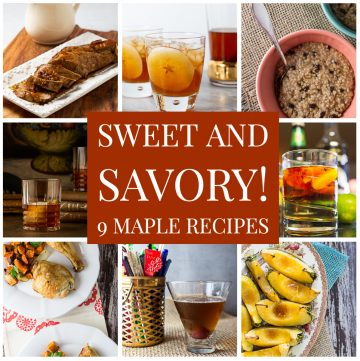 Photo collage of maple recipes.