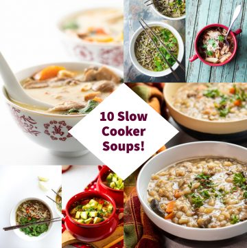 Collage of slow cooker soups.