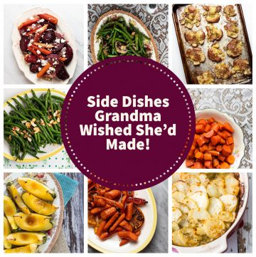 Photo collage of side dishes with text overlay.