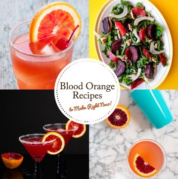 Photo collage of blood orange recipes.