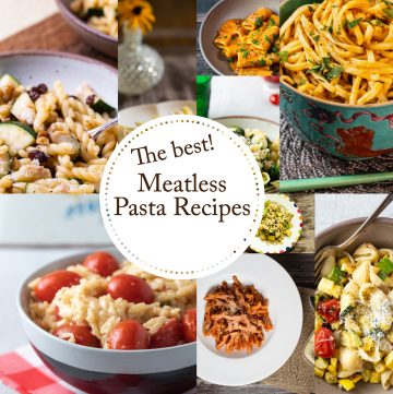 Collage of meatless pasta photos.